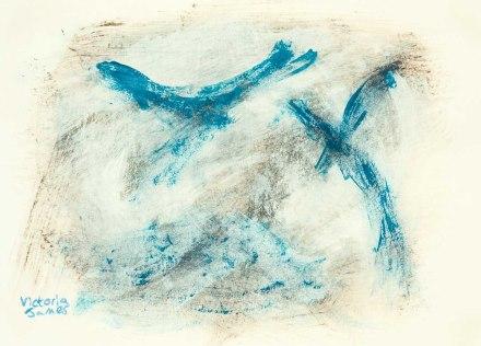 """""""Soaring"""" door Victoria James. Acryl op papier. 15x21 cm"""