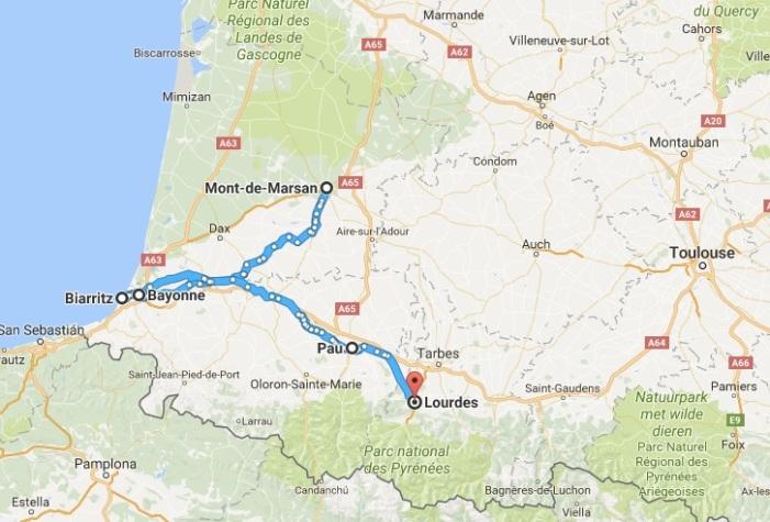 13 - Mont-de-Marsan__Frankrijk_naar_Lourdes__Frankrijk_-_Google_Maps