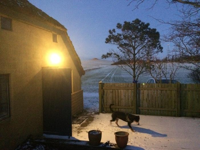 Gele huis voordeur sneeuw winter