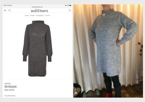 twee grijze jurken vergelijken