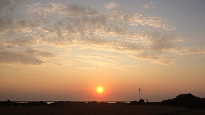zon onder boven Agger Tange 27 augustus